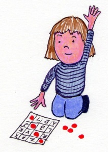 child playing letter  BINGO