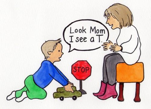 Child Recognizes the Letter T.