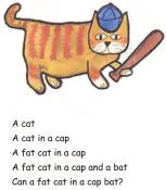 Fat cat in cap at bat.