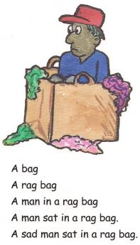 A man sat in a reg bag.