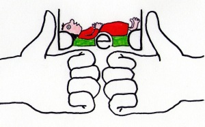 "Two fists with thumbs up and knuckles touching make letter ""b"" and ""d"" with a BeD visualized between the two thumbs."