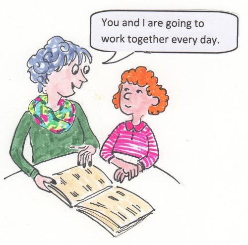 "Adult holding a book open for the child next to her and saying, ""You and I are going to work together every day."""