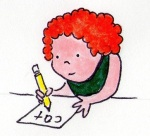 Young child writing C-A-T.