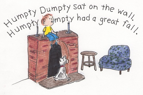 boy pretending to be Humpty