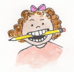 young girl with pencil in mouth