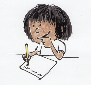 Child writing with right hand.