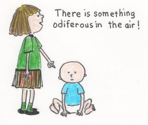 A young girl uses the word odiferous to describe a stinky diaper.