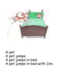 Dog jumps up on a child's bed.