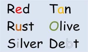 Colors for vowel sounds