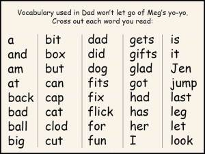 Dad won't let go of Meg's yo-yo vocabulary exercise.