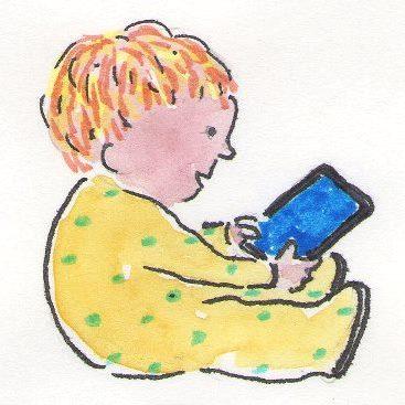 toddler reading iPad mini