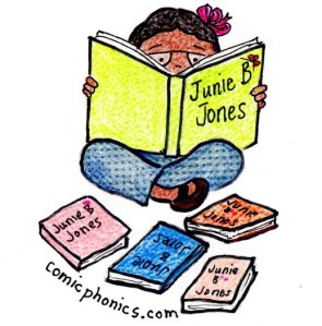 Girl reading Junie B. Jones.