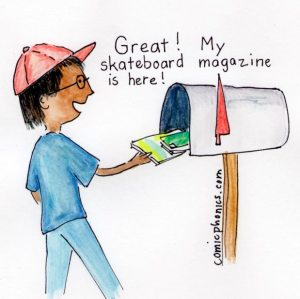 Boy at mailbox discovering skateboard magazine