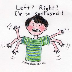 """Left? Right?"" says boy, flailing arms, ""I'm so confused!"""