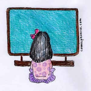 Child sitting in front of a large screen tv.