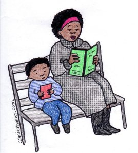 Son and mother reading on a park bench.