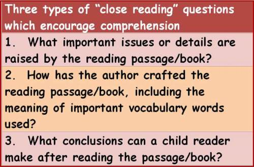 questions to ask when reading closely
