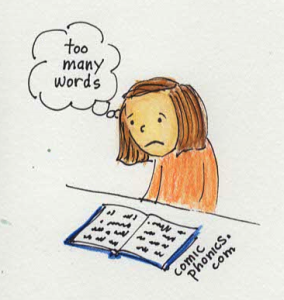 Discouraged child thinks there are too many words in a book she is reading