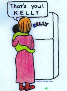 Mother shows child spelling of her name Kelly