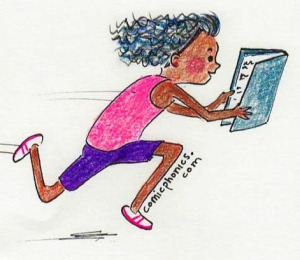 dhild running with book in hands
