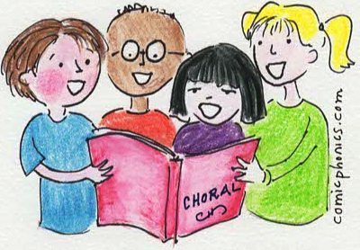 group of students reading together from a single book