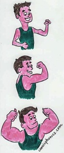 3 images of a muscleman--skinny, with muscles, really built