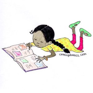 child on floor reading picture book