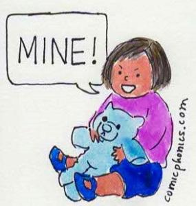 child saying Mine!