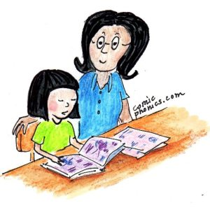 child with adult helping to read