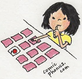 child playing card memory game