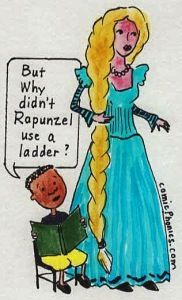 child questions Rapunzel's actions