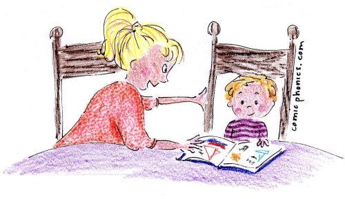 mother works with child reading story book