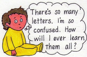 child musing about confusion over so many letters