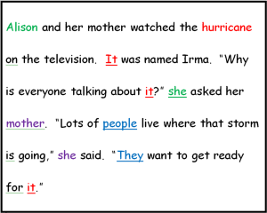 the relationship between a pronoun and its antecedent