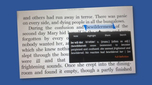 Kindle pronunciation and definition pop-up